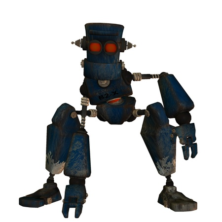 picker: 3D rendering of an old robot in Steampunk Style Stock Photo