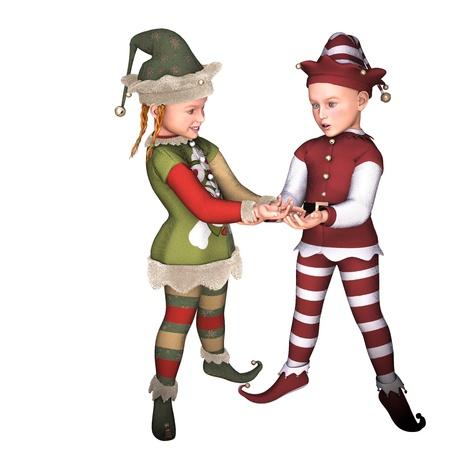 plait: 3d rendering of Xmas elves as illustration Stock Photo
