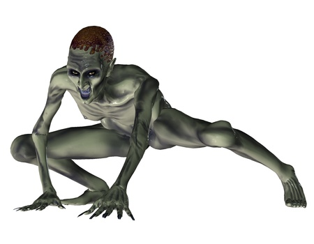 squat: 3d rendering of a zombie in the squat as illustration Stock Photo