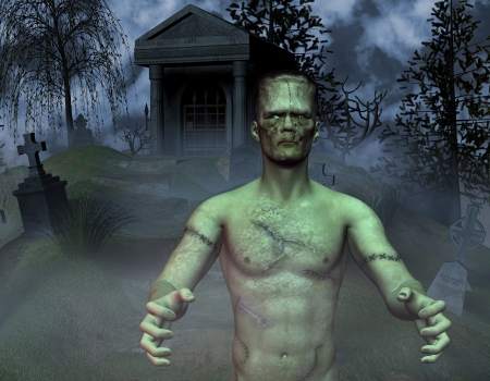 frankenstein: 3D rendering monster in a graveyard
