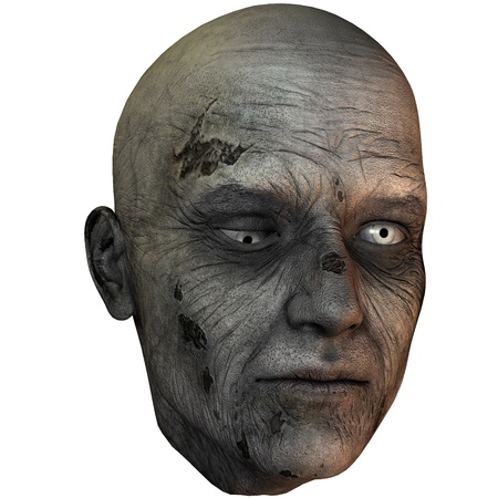 3D rendering of a zombie head photo