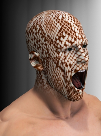 snake head: 3d rendering of a man with a snake