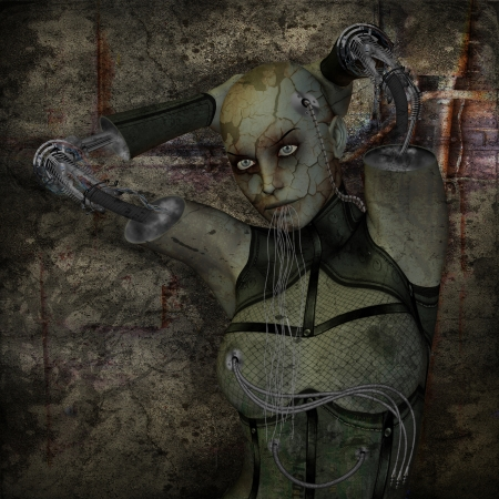 apocalypse: 3D rendering of a cyborg woman