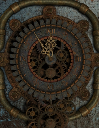 time machine: 3D rendering Five to Twelve on a Steampunk Clock Stock Photo