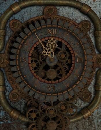 twelve: 3D rendering Five to Twelve on a Steampunk Clock Stock Photo