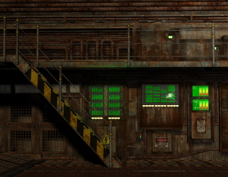 control room: 3D rendering wallpaper industrial plant in grunge style