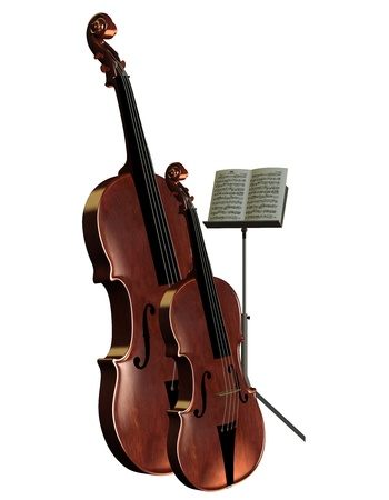 prank: 3D rendering musical instrument bass cello with music stand