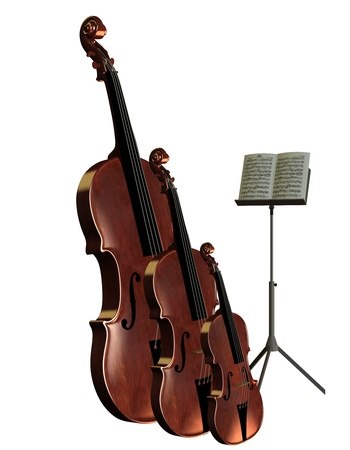 stringed: 3D rendering of musical instruments bass cello and violin with music stand