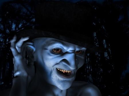 bloodsucker: 3d rendering a old vampire as Illustration
