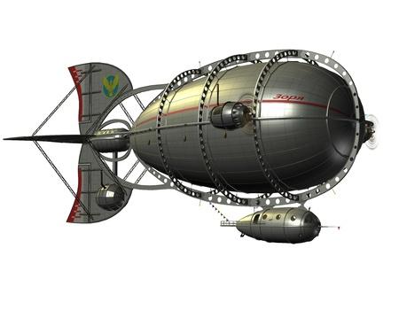 luftschiff: 3D-Rendering von einem Luftschiff Zeppelin Lizenzfreie Bilder