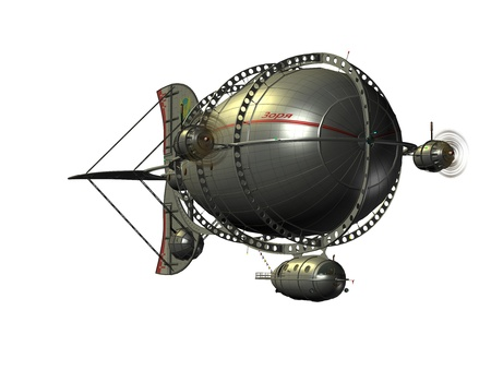 airship: 3D rendering of a Zeppelin airship from the front