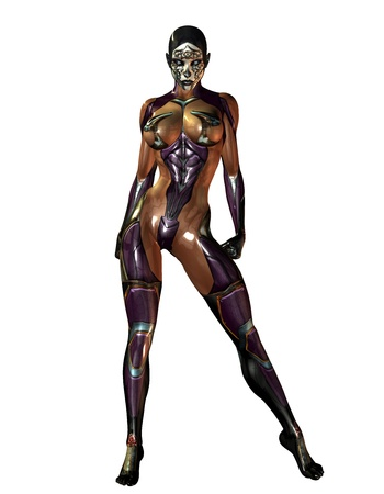 domina: 3D Rendering of a dominatrix in plastic overalls