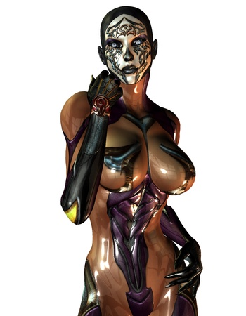 half nude: 3D rendering of a masked woman in plastic overalls Stock Photo