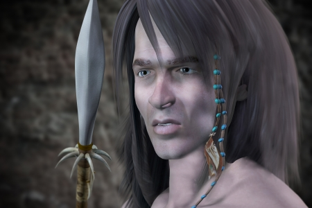 javelin: 3d rendering of a young warrior as illustration