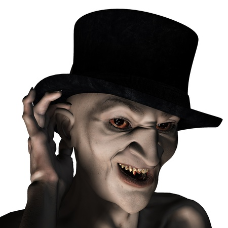 creature of fantasy: 3d rendering of an old vampire as an illustration