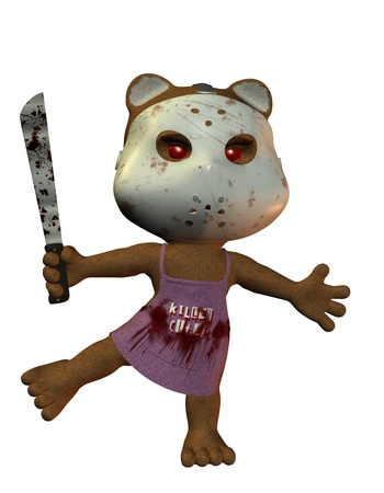 3D rendering of a bear with horror mask photo