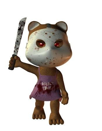 3D rendering of a little horror Bear photo