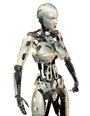 robot war: 3D rendering of a female combat