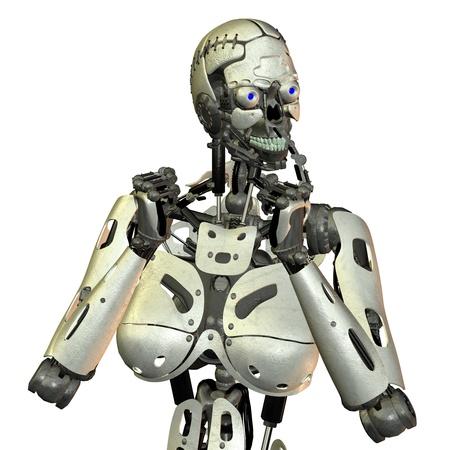 robot head: 3D rendering of a pensive robot Stock Photo