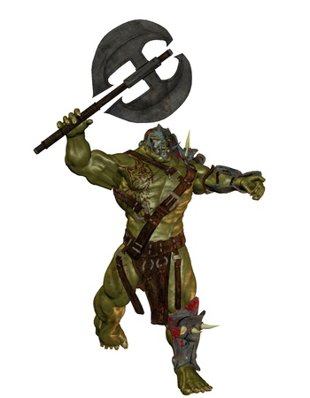 3D rendering of an orc with battle ax