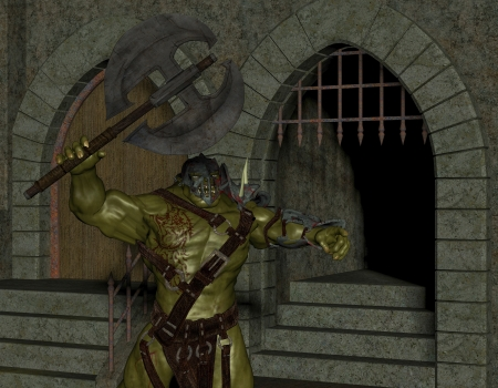 creature of fantasy: 3D rendering of an Orc in the Dungeon Stock Photo