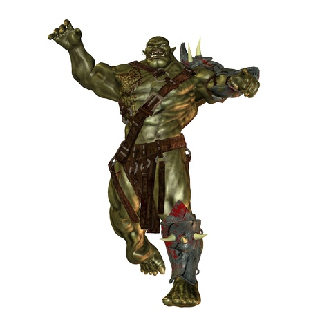 creature of fantasy: 3D rendering of an evil orc Stock Photo