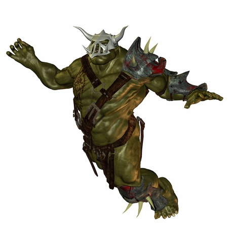 creature of fantasy: 3D rendering of a jumping orc