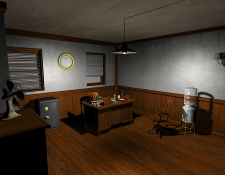 detective agency: 3D rendering of an old detective agency in film noir style
