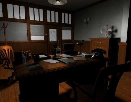 old office: 3D rendering of an old American film noir detective agency in Sil
