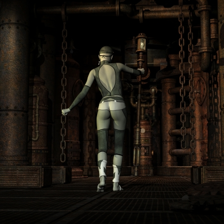 engine room: 3D rendering of a Steampunk Girl in the engine room