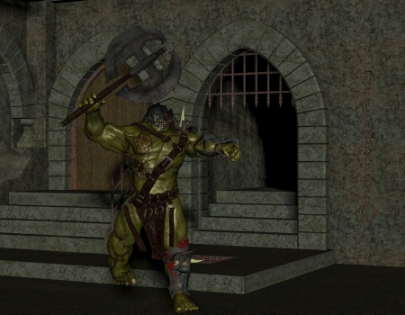 3D rendering of an orc with a battle ax in the dungeon Stock Photo - 17277271