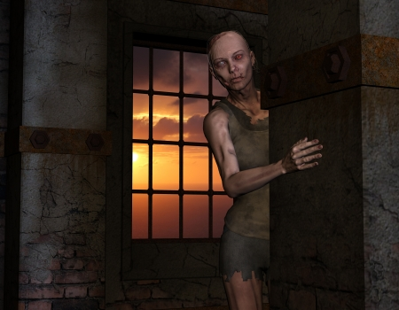 darkly: 3D rendering of an undead zombie in front of a window