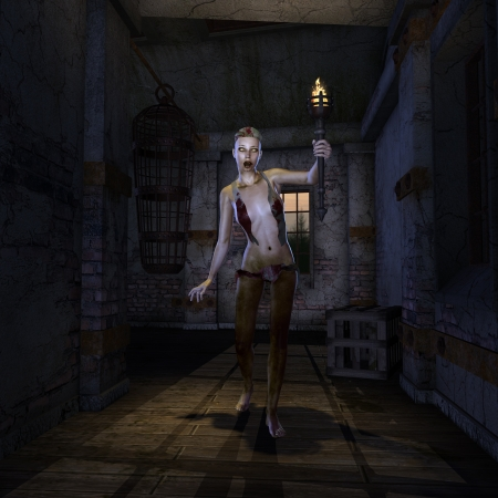 darkly: 3D rendering of a zombie nurse Stock Photo