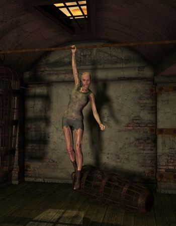 darkly: 3D rendering of a hanging undead woman