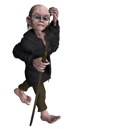 bony: 3d rendering of an old man as illustration in the comic style Stock Photo