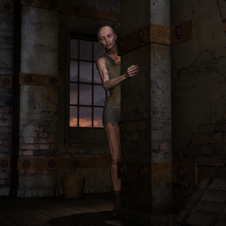 darkly: 3D rendering of a zombie in a corner