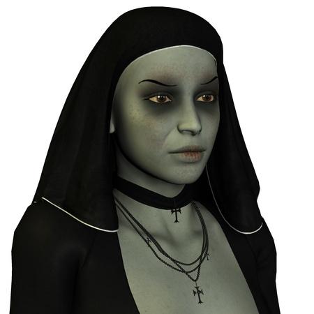 nun: 3D rendering of a sad nun