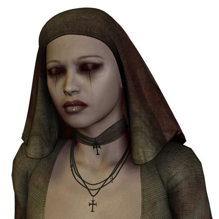nun: 3D rendering of a portrait of a sad nun