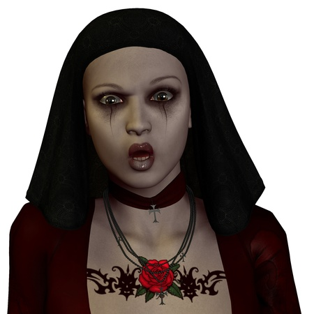 nun: 3D rendering of a nun in the Gothic style