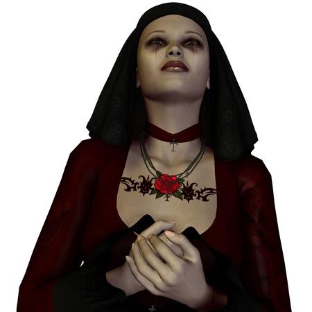 nun: 3D rendering of a nun praying