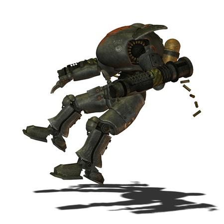 3D rendering of a falling battle robot photo