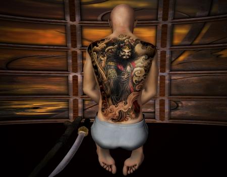 3D-rendering van een biddende Samurai met tattoo als illustratie Stockfoto