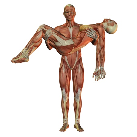 humanly: 3D rendering of the human muscle man wearing woman Stock Photo