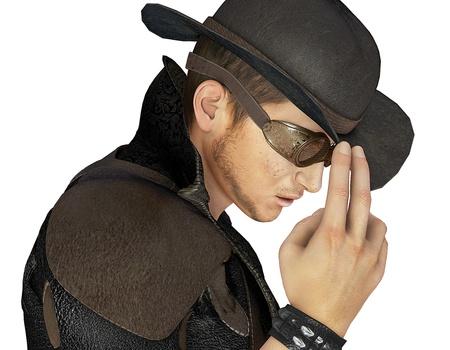 steampunk goggles: Representaci�n 3D de un h�roe del Oeste con un sombrero a modo de ilustraci�n Foto de archivo