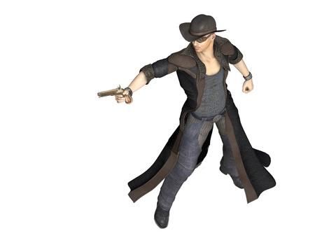 steampunk goggles: Representaci�n 3D de un joven vaquero con pistola a modo de ilustraci�n en el estilo occidental Foto de archivo