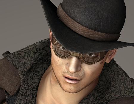 steampunk goggles: Representaci�n 3D de un hombre joven con sombrero de estilo occidental como ilustraci�n Foto de archivo