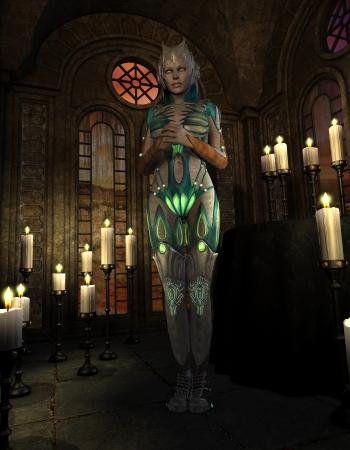 3D-rendering van een vrouwelijke krijger in harnas tijdens het gebed