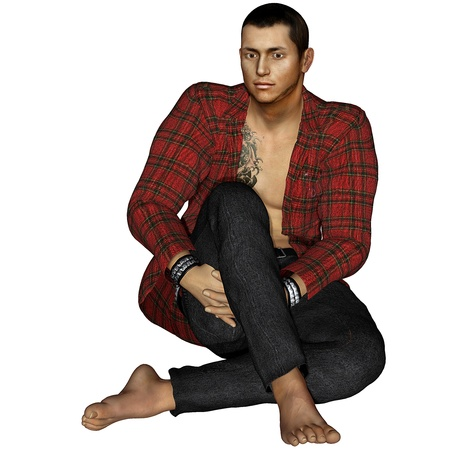 barefoot man: 3d rendering of a young man sitting as illustration Stock Photo