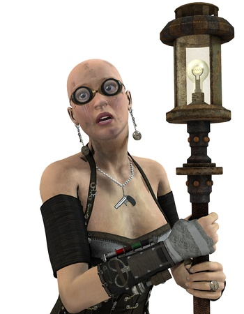 bald girl: 3D rendering of a Steampunk Woman with lantern