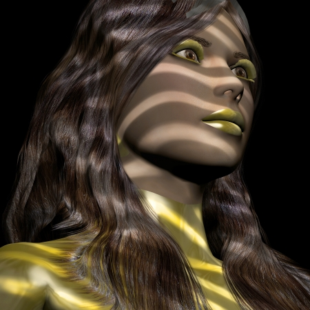 blind girl: 3d rendering of a young woman with light behind a louver as illustration